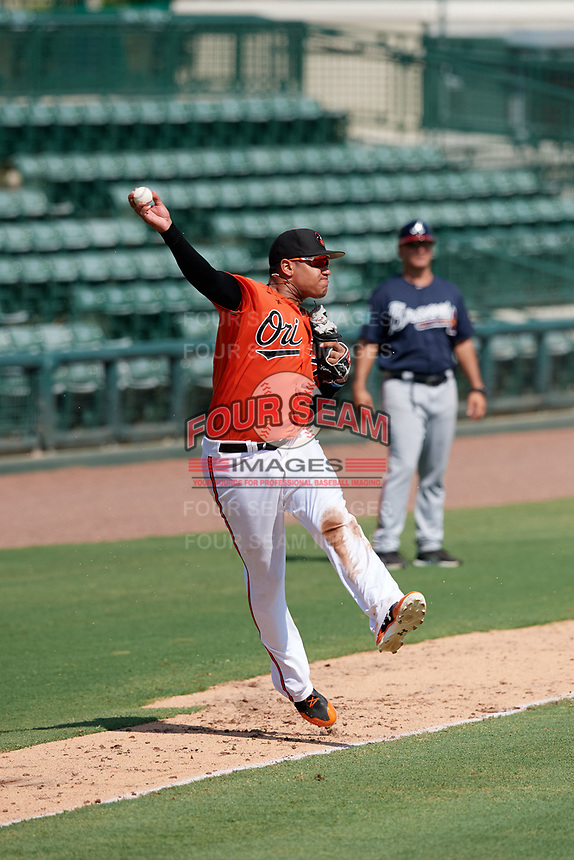 Baltimore Orioles Jomar Reyes (70) throws to first base during an Instructional League game against the Atlanta Braves on September 25, 2017 at Ed Smith Stadium in Sarasota, Florida.  (Mike Janes/Four Seam Images)