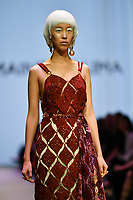 7 September 2017, Melbourne - Model parades design by RMIT student Charmaine De Lima during the Melbourne Fashion Week in Melbourne, Australia. (Photo Sydney Low / asteriskimages.com)