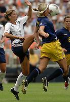 Mia Hamm, left, Victoria Svensson, right, 2003 WWC USA Sweden.
