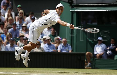 05.07.2013. Wimbledon, London, England.  Novak Djokovic of Serbia versus Martin Del Potro (Arg) in the mens singles semi-finals match