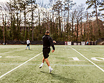 March 19, 2017. Chapel Hill, North Carolina.<br /> <br /> Mitch Trubisky gets ready to run through drills just days before his Pro Day at UNC.<br /> <br /> Mitchell Trubisky, the former quarterback of UNC-CH, is projected to be picked in the first round of the 2017 NFL draft.