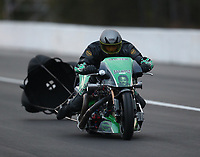Mar 16, 2019; Gainesville, FL, USA; NHRA top fuel nitro Harley Davidson motorcycle rider XXXX during qualifying for the Gatornationals at Gainesville Raceway. Mandatory Credit: Mark J. Rebilas-USA TODAY Sports