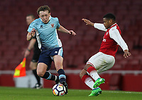 Blackpool U18's Nathan Shaw vies for possession with Arsenal U18's Vontae Daley-Campbell<br /> <br /> Photographer Andrew Kearns/CameraSport<br /> <br /> Emirates FA Youth Cup Semi- Final Second Leg - Arsenal U18 v Blackpool U18 - Monday 16th April 2018 - Emirates Stadium - London<br />  <br /> World Copyright &copy; 2018 CameraSport. All rights reserved. 43 Linden Ave. Countesthorpe. Leicester. England. LE8 5PG - Tel: +44 (0) 116 277 4147 - admin@camerasport.com - www.camerasport.com