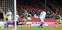 Preston North End's Daniel Johnson scores the opening goal past Blackburn Rovers' David Raya<br /> <br /> Photographer Rich Linley/CameraSport<br /> <br /> The EFL Sky Bet Championship - Blackburn Rovers v Preston North End - Saturday 9th March 2019 - Ewood Park - Blackburn<br /> <br /> World Copyright © 2019 CameraSport. All rights reserved. 43 Linden Ave. Countesthorpe. Leicester. England. LE8 5PG - Tel: +44 (0) 116 277 4147 - admin@camerasport.com - www.camerasport.com