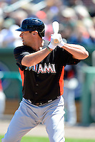 Miami Marlins first baseman Casey Kotchman #18 during a Spring Training game against the Boston Red Sox at JetBlue Park on March 27, 2013 in Fort Myers, Florida.  Miami defeated Boston 5-1.  (Mike Janes/Four Seam Images)