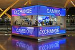 Money exchange booth office, Cambio bureau de change, terminal 4 Madrid airport, Spain