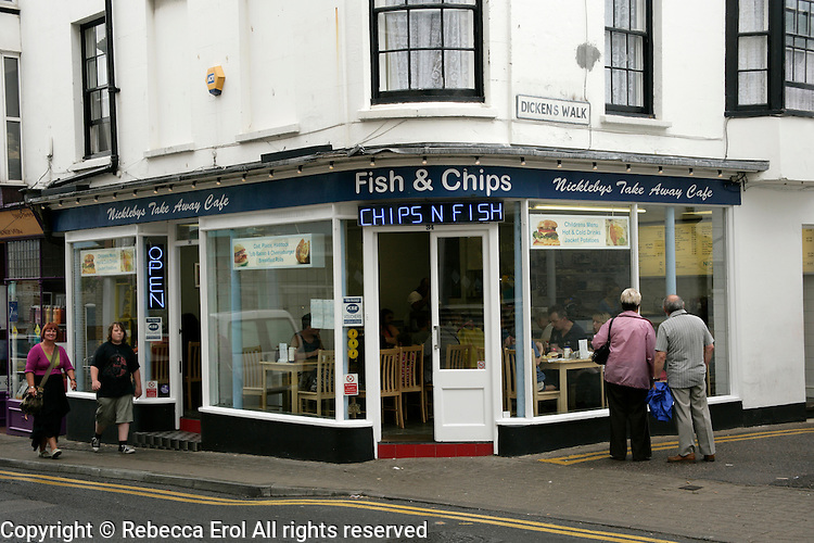 Fish and chips shop in Broadstairs, Kent, UK