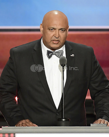 Sajid Tarar, Founder, American Muslims for Trump, makes remarks at the 2016 Republican National Convention held at the Quicken Loans Arena in Cleveland, Ohio on Tuesday, July 19, 2016.<br /> Credit: Ron Sachs / CNP/MediaPunch<br /> (RESTRICTION: NO New York or New Jersey Newspapers or newspapers within a 75 mile radius of New York City)