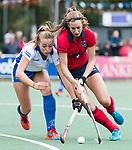 UTRECHT - Renee van Laarhoven (Kampong) met rechts Lisa Gerritsen (Laren)   tijdens de hockey hoofdklasse competitiewedstrijd dames:  Kampong-Laren (2-2). COPYRIGHT KOEN SUYK