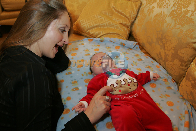 Home Alone over christmas with her new born Son Hazel Kinsella spends her time lookin gafter her son while her husband is locked up in jail awaiting trail..Photo: Fran Caffrey/ Newsfile.<br />