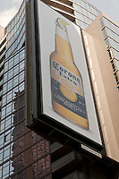 Corona Extra advertising board is pictured on Times Square in the New York City borough of Manhattan, NY, Tuesday August 2, 2011. Corona Extra, better known as Corona and labeled as Coronita in Spain, is a brand of pale lager owned and produced by Cerveceria Modelo at a number of breweries in Mexico.