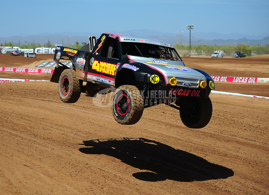 Apr 15, 2011; Surprise, AZ USA; LOORRS driver Greg Adler (10) during round 3 and 4 at Speedworld Off Road Park. Mandatory Credit: Mark J. Rebilas-.