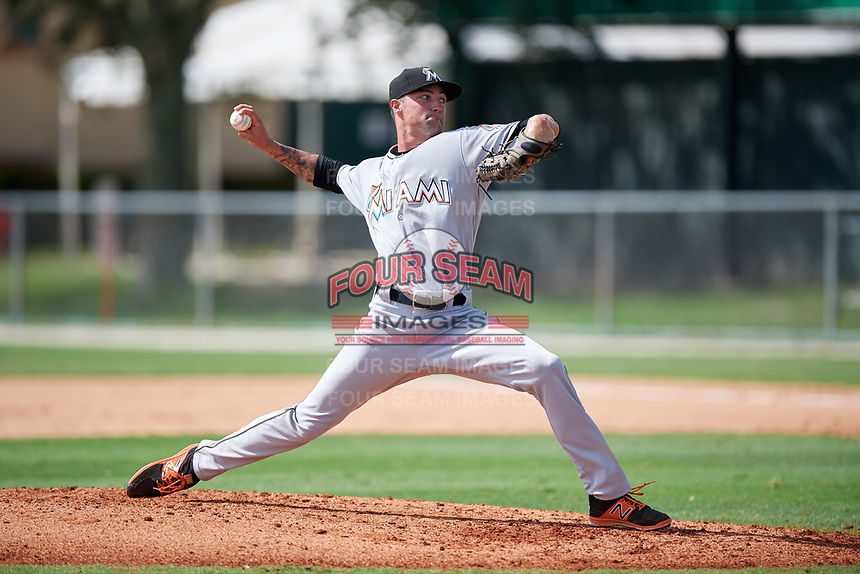 GCL Marlins relief pitcher Evan Estes (28) delivers a pitch during the first game of a doubleheader against the GCL Nationals on July 23, 2017 at Roger Dean Stadium Complex in Jupiter, Florida.  GCL Nationals defeated the GCL Marlins 4-0.  (Mike Janes/Four Seam Images)