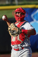 Jose Trevino #33 of the Spokane Indians during a game against the Salem-Keizer Volcanoes at Volcanoes Stadium on July 26, 2014 in Keizer, Oregon. Spokane defeated Salem-Keizer, 4-1. (Larry Goren/Four Seam Images)