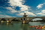 Pont Saint-Bénezet and kayakers on the Rhône River, Avignon, France