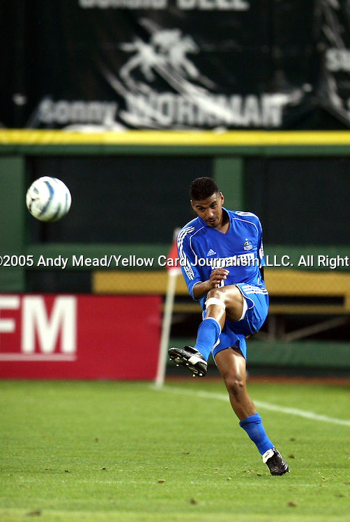 21 May 2005: Jose Burciaga, Jr. sends a cross into the attack. DC United defeated the Kansas City Wizards 3-2 at RFK Stadium in Washington, DC in a regular season Major League Soccer game. . .