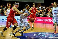 GRONINGEN - Basketbal, Donar - Feyenoord, Dutch Basketball League, seizoen 2018-2019, 16-02-2019, Donar speler Teddy Gipson achtervolgt door Feyenoord speler Michael Kok