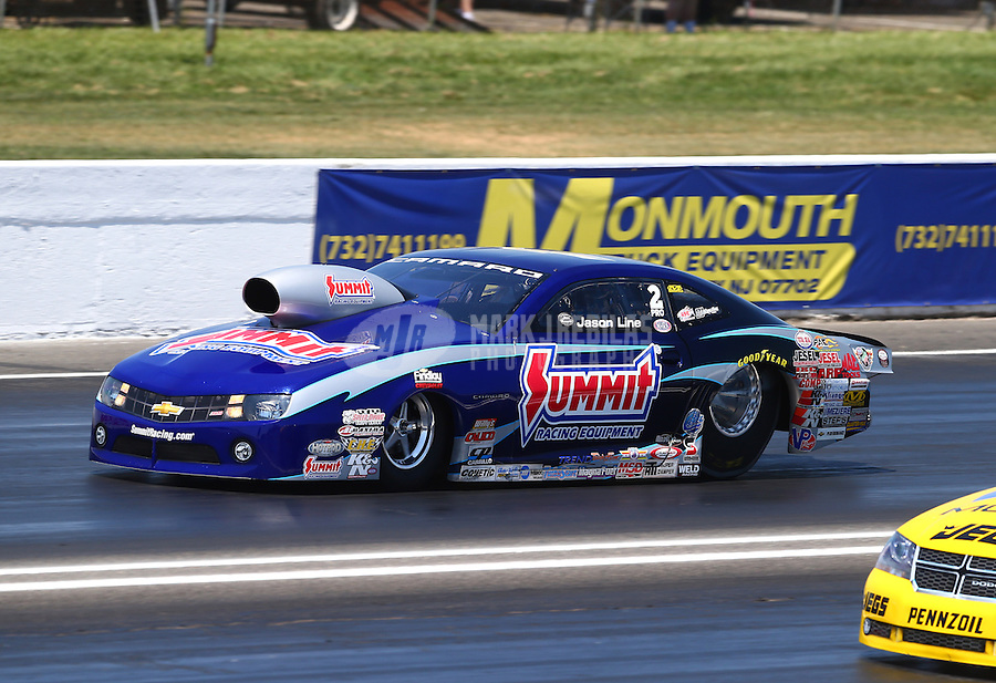 Jun. 1, 2013; Englishtown, NJ, USA: NHRA pro stock driver Jason Line during qualifying for the Summer Nationals at Raceway Park. Mandatory Credit: Mark J. Rebilas-