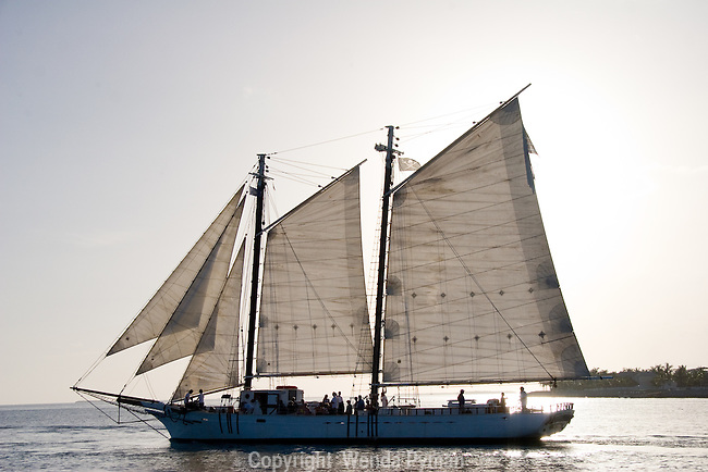 Tall ships offer sunset cruises in historic Key West.