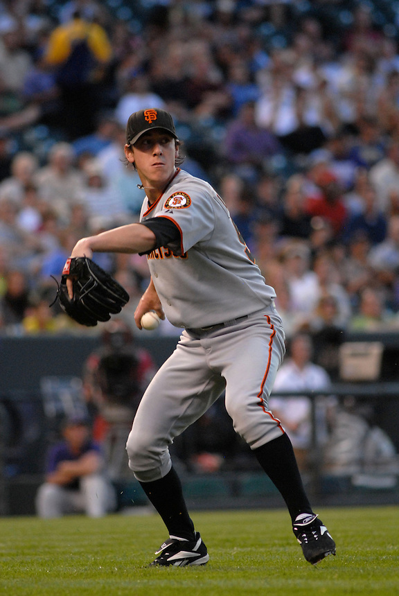 20 May 2008: Giants starting pitcher Tim Lincecum fields a bunt during a regular season game between the San Francisco Giants and the Colorado Rockies at Coors Field in Denver, Colorado. The Giants beat the Rockies 6-5. *****For editorial use only*****