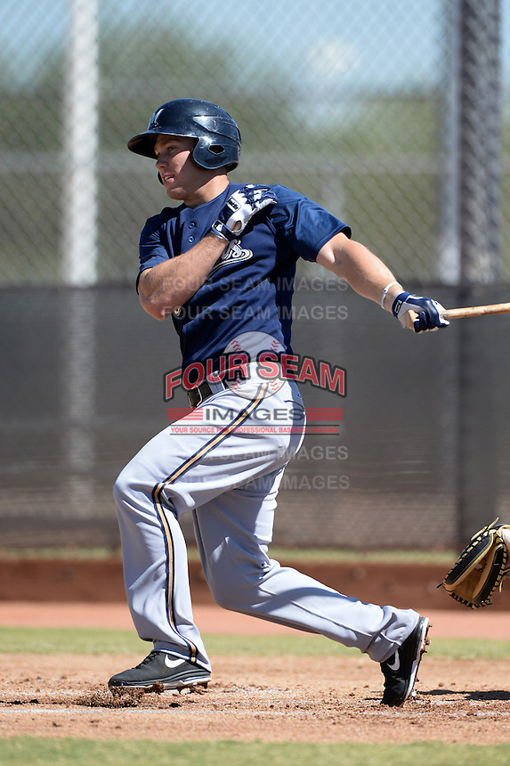Milwaukee Brewers outfielder Michael Ratterree (33) during an instructional league game against the Colorado Rockies on October 1, 2013 at Maryvale Baseball Park Training Complex in Phoenix, Arizona.  (Mike Janes/Four Seam Images)