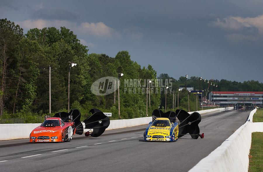 May 11, 2013; Commerce, GA, USA: NHRA funny car driver Johnny Gray (left) after defeating Matt Hagan to win the Southern Nationals at Atlanta Dragway. Mandatory Credit: Mark J. Rebilas-