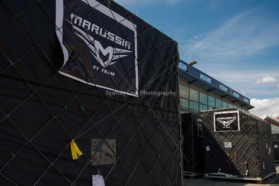 MELBOURNE, 11 March - Containers of the Marussia F1 Team wait in pit lane ahead of the 2012 Formula One Australian Grand Prix at the Albert Park Circuit in Melbourne, Australia. (Photo Sydney Low / syd-low.com)