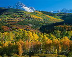 Uncompahgre National Forest, CO<br /> Mt. Sneffels and brilliant fall colored foothills of the East Dallas Creek valley