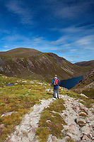 Descending into the Loch Avon Basin below Carn Etchachan, Cairngorm National Park, Badenoch and Speyside, Highland