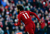 9th February 2019, Anfield, Liverpool, England; EPL Premier League football, Liverpool versus AFC Bournemouth; Mohamed Salah of Liverpool celebrates after scoring his team's third goal after 48 minutes to make the score 3-0