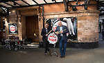 The Commitments - musical launch with Author Roddy Doyle..Roddy Doyle  with Jamie Lloyd the director - outside the Palace Theatre in Cambridge Circus today.....Pic by Gavin Rodgers/Pixel 8000 Ltd