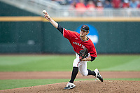 Texas Tech Red Raiders pitcher Caleb Kilian (32) delivers a pitch to the plate during Game 5 of the NCAA College World Series against the Arkansas Razorbacks on June 17, 2019 at TD Ameritrade Park in Omaha, Nebraska. Texas Tech defeated Arkansas 5-4. (Andrew Woolley/Four Seam Images)