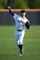 Josh Rojas (1) of the Buies Creek Astros warms up in the outfield prior to the game against the Frederick Keys at Jim Perry Stadium on April 28, 2018 in Buies Creek, North Carolina. The Astros defeated the Keys 9-4.  (Brian Westerholt/Four Seam Images)