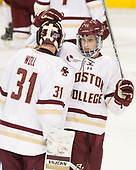 Joe Woll (BC - 31), Colin White (BC - 18) - The Boston College Eagles defeated the visiting Providence College Friars 3-1 on Friday, October 28, 2016, at Kelley Rink in Conte Forum in Chestnut Hill, Massachusetts.The Boston College Eagles defeated the visiting Providence College Friars 3-1 on Friday, October 28, 2016, at Kelley Rink in Conte Forum in Chestnut Hill, Massachusetts.