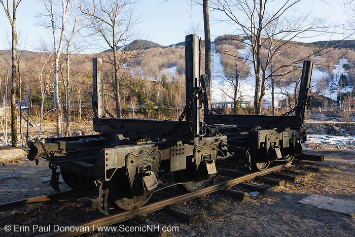 Log truck on display at Loon Mountain in Lincoln, New Hampshire, USA. Log trucks were used to carry logs on the East Branch & Lincoln Logging Railroad.