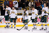 Kyle Medvec (Vermont - 6), Brian Roloff (Vermont - 14), Peter Lenes (Vermont - 3), Colin Vock (Vermont - 10), Brayden Irwin (Vermont - 5) - The Boston College Eagles defeated the University of Vermont Catamounts 4-0 in the Hockey East championship game on Saturday, March 22, 2008, at TD BankNorth Garden in Boston, Massachusetts.