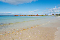 Scenic white sand beach, Gimsøya, Lofoten islands, Norway