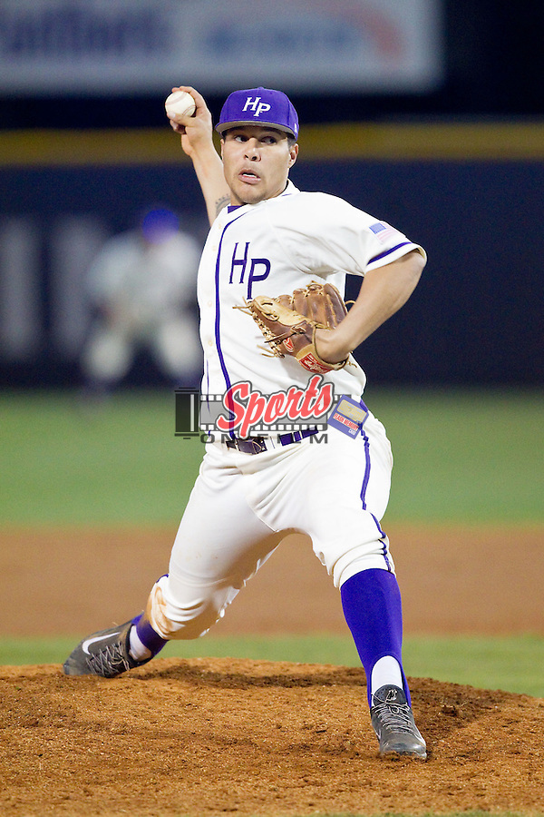 High Point Panthers starting pitcher Andre Scrubb (16) in action against the Coastal Carolina Chanticleers at Willard Stadium on March 15, 2014 in High Point, North Carolina.  (Brian Westerholt/Sports On Film)
