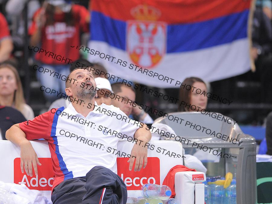 Tennis Tenis<br /> Davis Cup Final 2013<br /> Serbia v Czech Republic<br /> Novak Djokovic v Tomas Berdych<br /> Team captain Bogdan Obradovic<br /> Beograd, 17.11.2013.<br /> foto: Srdjan Stevanovic/Starsportphoto &copy;