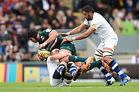 Sione Kalamafoni of Leicester Tigers is tackled by Francois Louw of Bath Rugby. Aviva Premiership match, between Leicester Tigers and Bath Rugby on September 3, 2017 at Welford Road in Leicester, England. Photo by: Patrick Khachfe / Onside Images