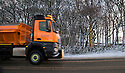 11/12/14<br /> <br /> A grittier clears the A515 as snow clings to freezing tree trunks near Newhaven, Derbyshire after overnight snow fall settles on hills in the Derbyshire Peak District.<br /> <br /> ***ANY UK EDITORIAL PRINT USE WILL ATTRACT A MINIMUM FEE OF £130. THIS IS STRICTLY A MINIMUM. USUAL SPACE-RATES WILL APPLY TO IMAGES THAT WOULD NORMALLY ATTRACT A HIGHER FEE . PRICE FOR WEB USE WILL BE NEGOTIATED SEPARATELY***<br /> <br /> <br /> All Rights Reserved - F Stop Press. www.fstoppress.com. Tel: +44 (0)1335 300098