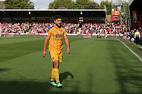 Sam Morsy walks towards the Wigan dressing room after being shown a red card during Brentford vs Wigan Athletic, Sky Bet EFL Championship Football at Griffin Park on 15th September 2018