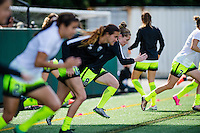 Seattle, WA - Sunday, May 22, 2016: Seattle Reign FC midfielder Kim Little (8) races her teammates during warm-ups, prior to a regular season National Women's Soccer League (NWSL) match at Memorial Stadium. Chicago Red Stars won 2-1.