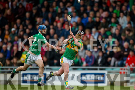 Anthony O'Carroll Ballyduff in action against Raymond Galvin Lixnaw in the Senior County Hurling Final in Austin Stack Park on Sunday