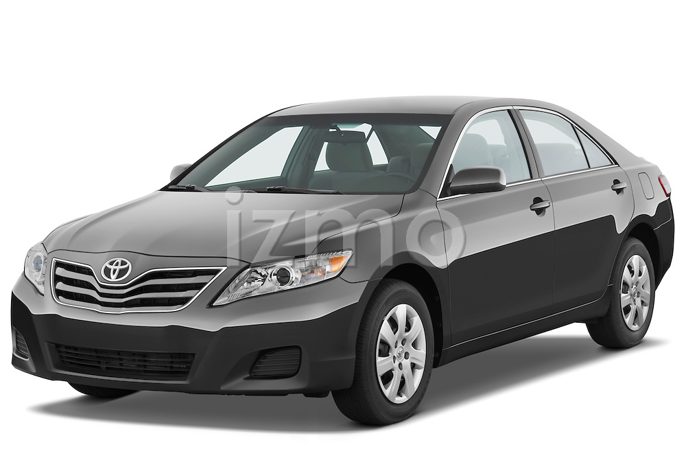 Front three quarter view of a 2010 Toyota Camry LE.