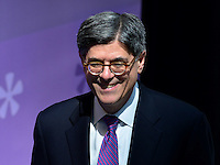 """Washington, DC - April 13, 2016: U.S. Treasury Secretary Jacob Lew enters the Wolfensohn Atrium of the World Bank Building in the District of Columbia to speak about the """"Let Girls Learn"""" initiative during an event at the IMF/World Bank Spring Meetings, April 13, 2016. Let Girls Learn helps adolescent girls around the world attend and complete school.  (Photo by Don Baxter/Media Images International)"""