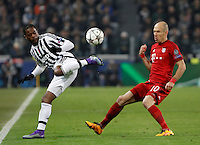 Calcio, andata degli ottavi di finale di Champions League: Juventus vs Bayern Monaco. Torino, Juventus Stadium, 23 febbraio 2016. <br /> Juventus' Patrice Evra, left, is challenged by Bayern's Arjen Robben during the Champions League round of 16 first leg soccer match between Juventus and Bayern at Turin's Juventus Stadium, 23 February 2016.<br /> UPDATE IMAGES PRESS/Isabella Bonotto