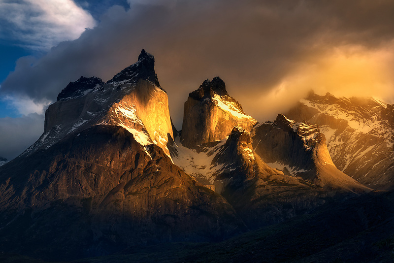 Paine Moutains glowing at sunrise. Torres Del Paine National Park, Chile