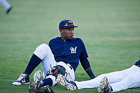 AZL Brewers second baseman Jean Carmona (5) stretches in the outfield prior to a game against the AZL Cubs at Maryvale Baseball Park in Phoenix, Arizona. AZL Cubs defeated the AZL Brewers 9-1. (Zachary Lucy/Four Seam Images)