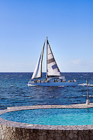 Tourist sightseeing catamaran excursion, Negril, Jamaica
